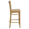 Hercules Series Wooden Restaurant Barstool - Natural, Ladder Back - FLSH-XU-DGW0005BARLAD-NAT-GG