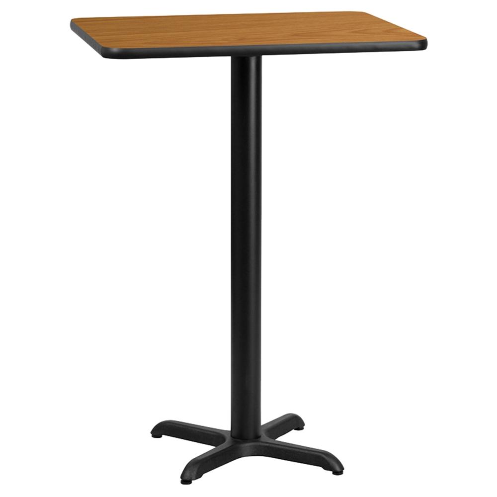 24 Quot X 30 Quot Rectangular Bar Table Black Natural Pedestal