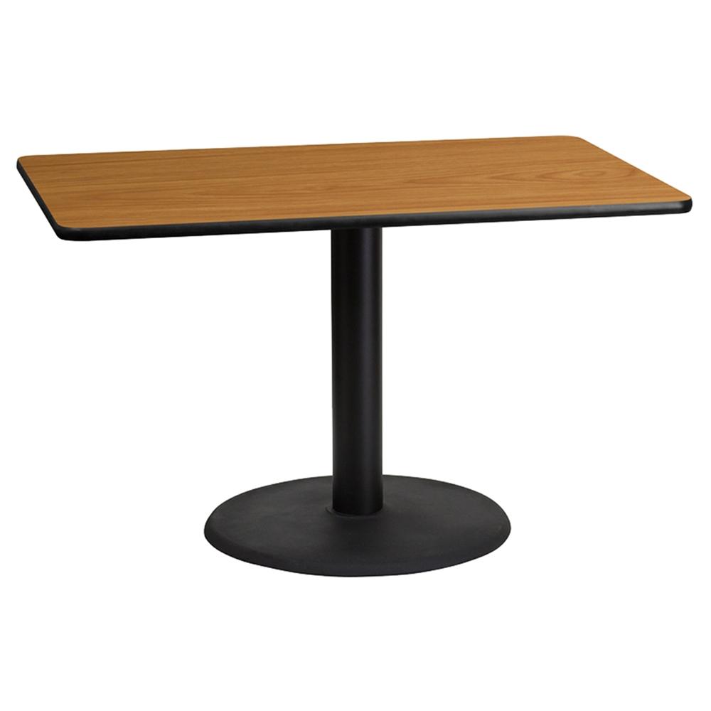 30 x 48 rectangular dining table round pedestal base black natural dcg stores. Black Bedroom Furniture Sets. Home Design Ideas