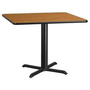 Prime 42 Square Dining Table Black Natural Pedestal Base Interior Design Ideas Clesiryabchikinfo