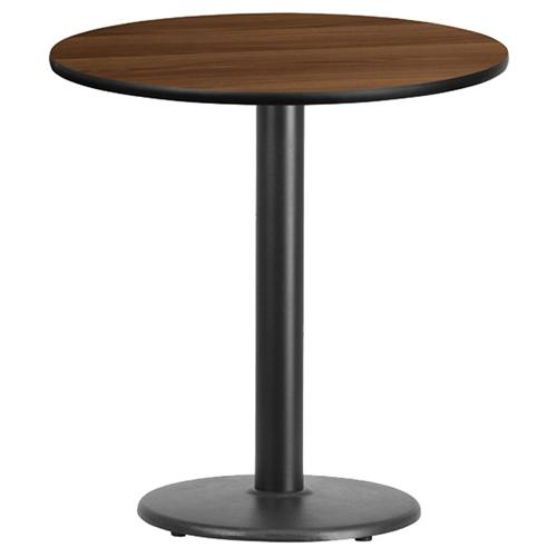 24 Round Dining Table Walnut Top 18 Black Pedestal