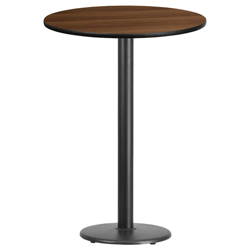 30 round bar table walnut top 18 black pedestal base for 12 bar blues table