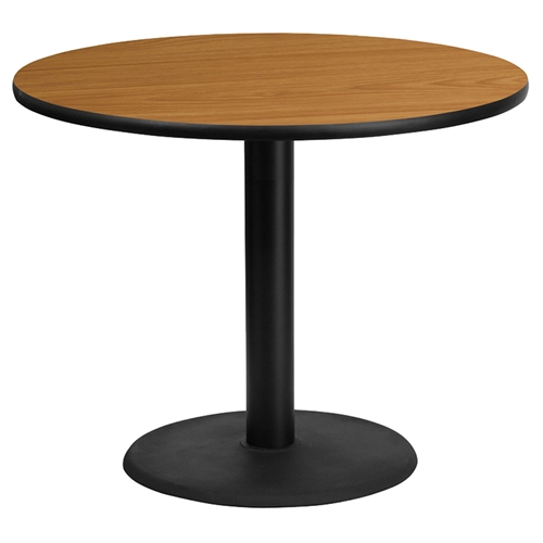 36 quot round dining table natural top black round pedestal
