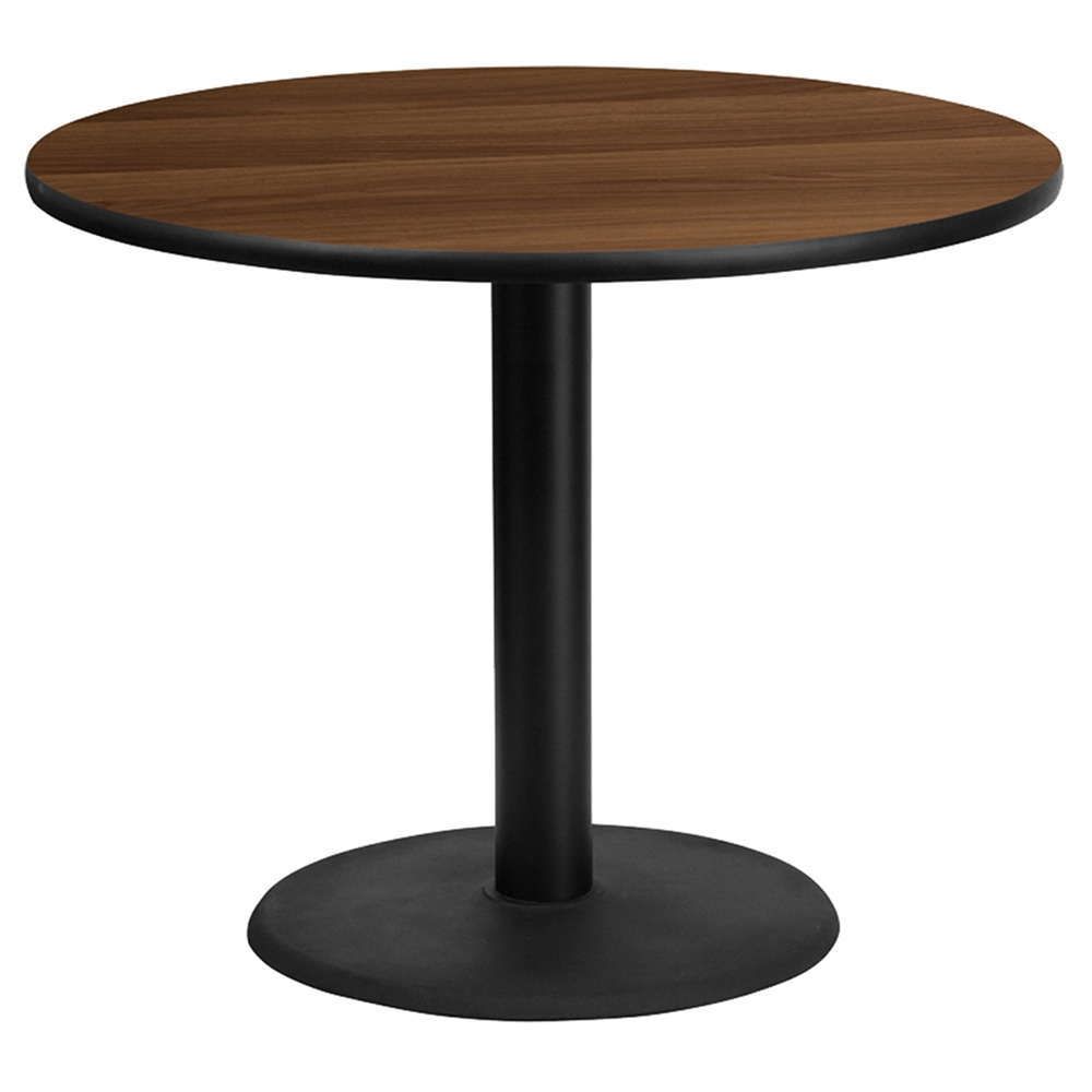 36 round dining table walnut top black round pedestal for 36 round dining table