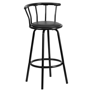 Metal Barstool - Black, Swivel, Crown Back