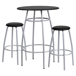 3 Pieces Bar Height Table and Stool Set - Black, Swivel