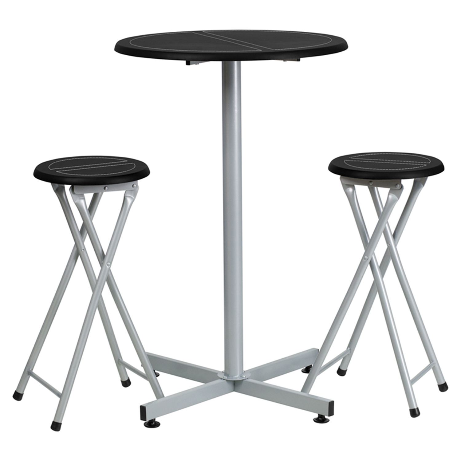 Bar Height Table And Stool Set   Silver, Black