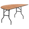"72"" Half-Round Banquet Table - Folding, Natural - FLSH-YT-WHRFT72-HF-GG"