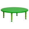 "5 Pieces 45"" Round Activity Table Set - Adjustable, Green - FLSH-YU-YCX-0053-2-ROUND-TBL-GREEN-E-GG"