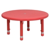 "5 Pieces 33"" Round Activity Table Set - Adjustable, Red - FLSH-YU-YCX-0073-2-ROUND-TBL-RED-E-GG"