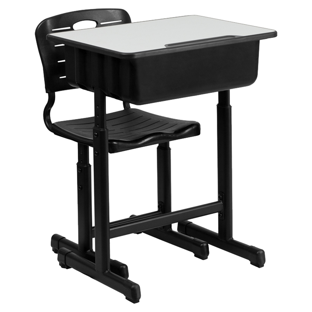 Student Desk And Chair Adjustable Height Black Pedestal