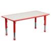 7 Pieces Rectangular Activity Table Set - Adjustable, Red, Gray - FLSH-YU-YCY-060-0036-RECT-TBL-RED-GG