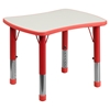5 Pieces Rectangular Activity Table Set - Adjustable, Gray, Red - FLSH-YU-YCY-098-0034-RECT-TBL-RED-GG