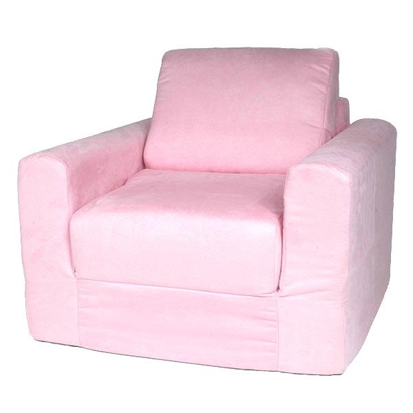 Kids Chair Sleeper In Pink Micro Suede
