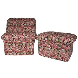 Tween Cloud Chair and Ottoman in Candyland Plaid