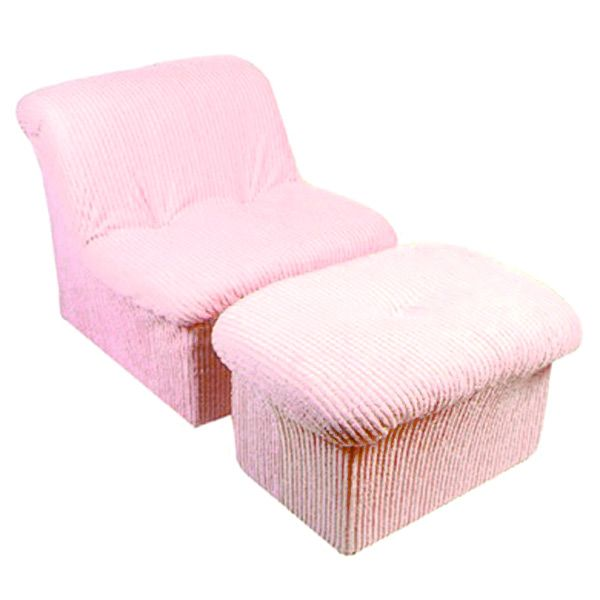 tween cloud chair and ottoman in pink chenille dcg stores