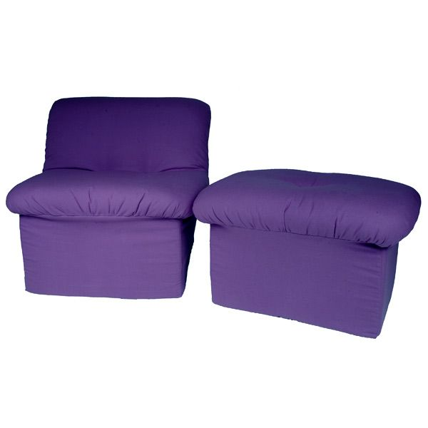 tween cloud chair and ottoman in purple canvas dcg stores