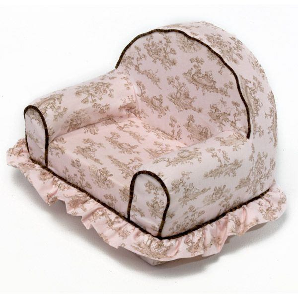 My First Chair Pink Toile W Brown Piping And Ruffled Skirt Dcg Stores