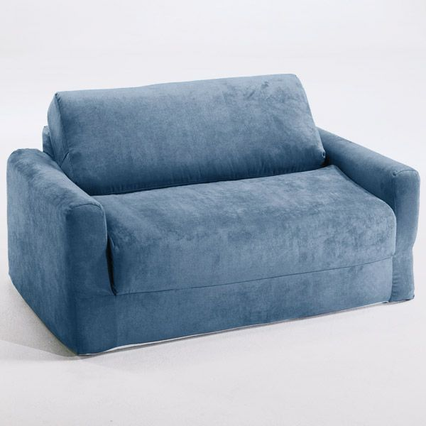Baby Blue Sofa : Kids Sofa Sleeper in Blue Micro Suede  DCG Stores