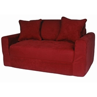 Kids Sofa Sleeper in Red Micro Suede