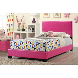 Cameron Full Leatherette Bed - Pink