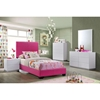 Cameron Twin Leatherette Bed in Pink - GLO-8103-P-TB-M
