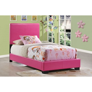 Cameron Twin Leatherette Bed in Pink