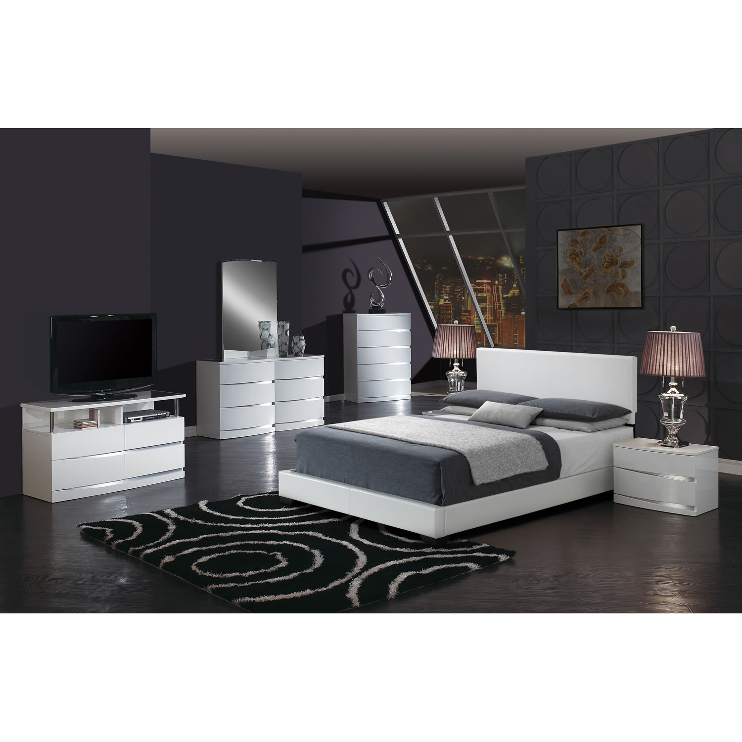 Cameron Leatherette Bed - White - GLO-8103-WH-M-BED