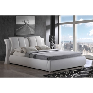 Lucas Leatherette Bed in White, Extra Padded Headboard