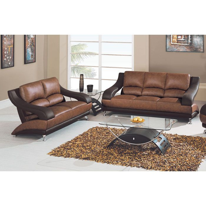 Caio Two Tone Modern Leather Sofa And Loveseat Dcg Stores