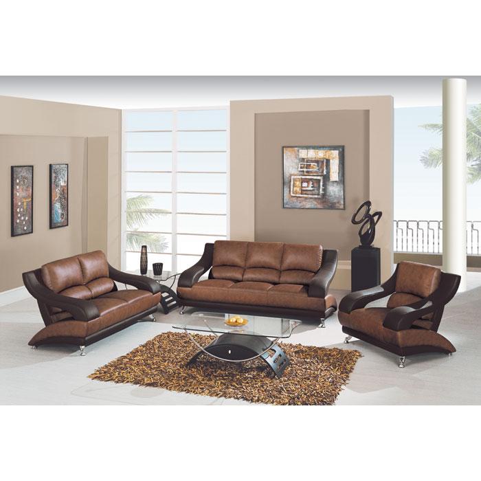 caio two tone modern 3 piece leather sofa set dcg stores rh dcgstores com two tone leather couch two tone leather sectional sofa