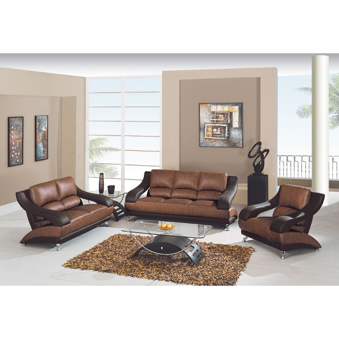 Caio Two Tone Modern 3 Piece Leather Sofa Set - GLO-982-BRN-3PC