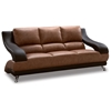 Caio Two Tone Modern Leather Sofa and Loveseat - GLO-982-BRN-2PC