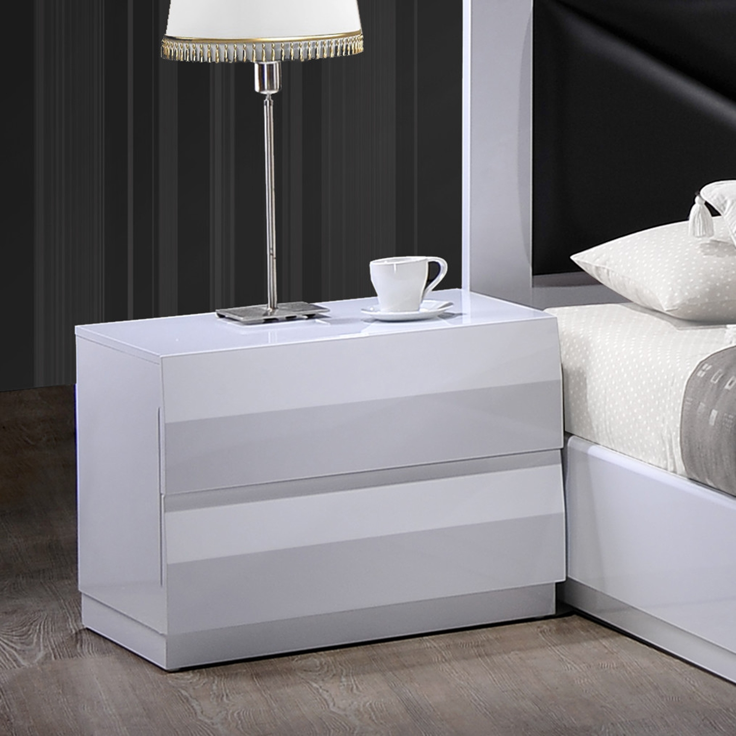 Bailey Nightstand, High Gloss White - GLO-BAILEY-900A-NS-M