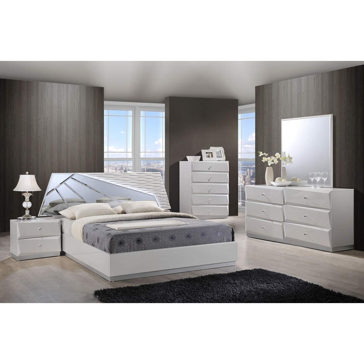 ... Barcelona Bedroom Set In High Gloss Silver Line   GLO BARCELONA 116 BED