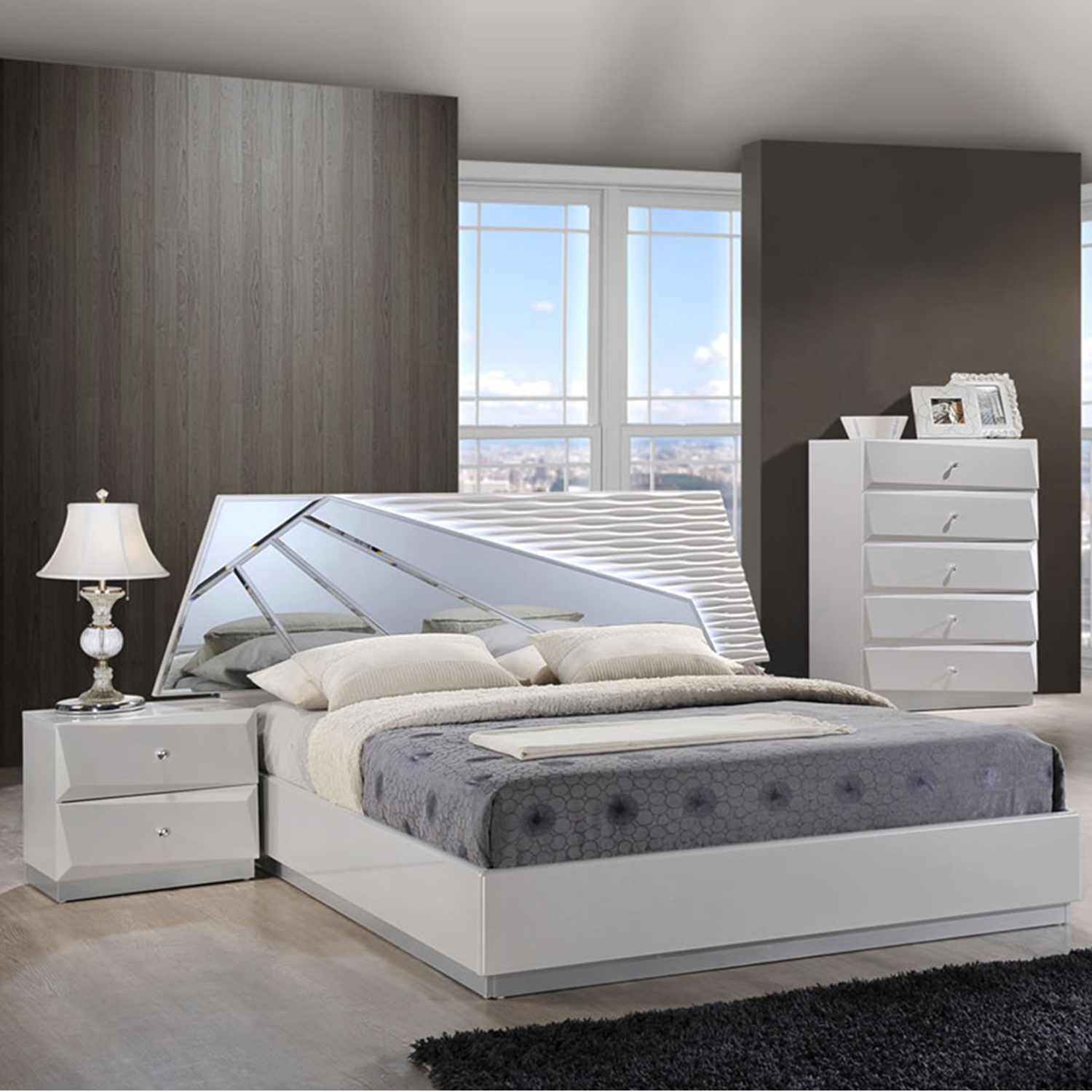 Superieur Barcelona Bedroom Set In High Gloss Silver Line   GLO BARCELONA 116 BED ...