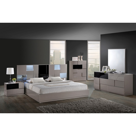 Bianca bedroom set in high gloss gray and black dcg stores for Black high gloss bedroom furniture