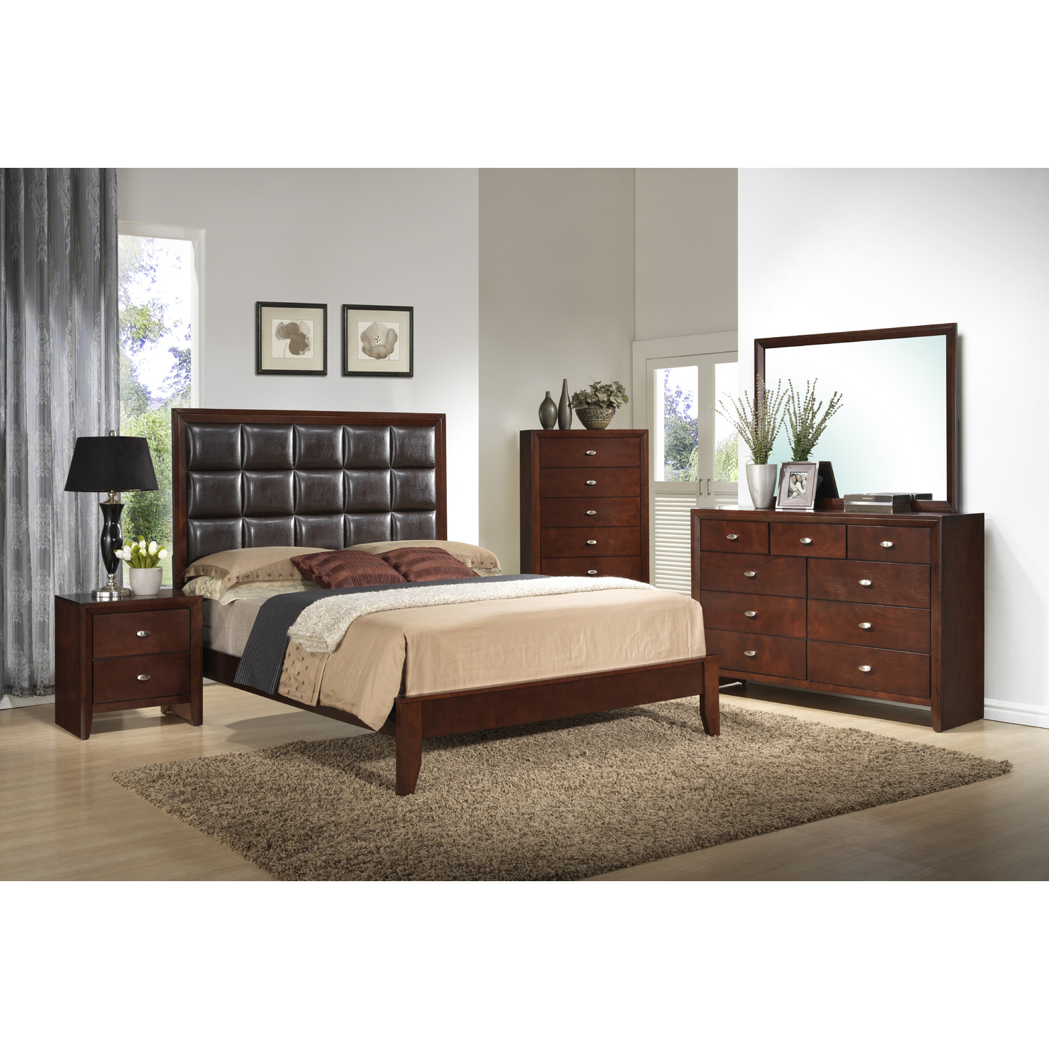 Carolina Bed Brown Cherry - GLO-CAROLINA-BR-C-BX-M-BED