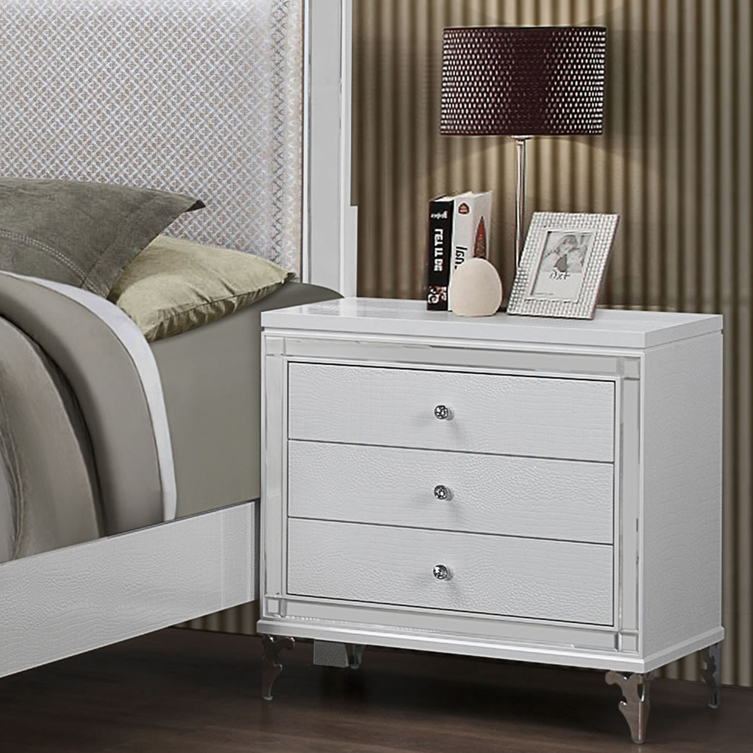 Catalina Nightstand in Metallic White - GLO-CATALINA-NS-MET-WH-M