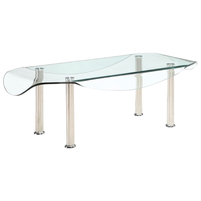 Glass Top Rectangular Coffee Table: Crystal Rectangular Coffee Table With Clear Glass Top
