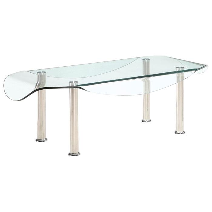 Rectangular Glass Top Coffee Table: Crystal Rectangular Coffee Table With Clear Glass Top
