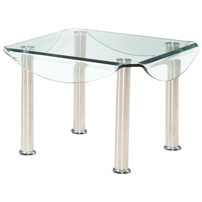 Crystal Square End Table with Clear Glass Top