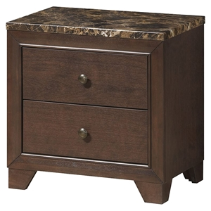 Corra Nightstand with Marble Top, Dark Merlot