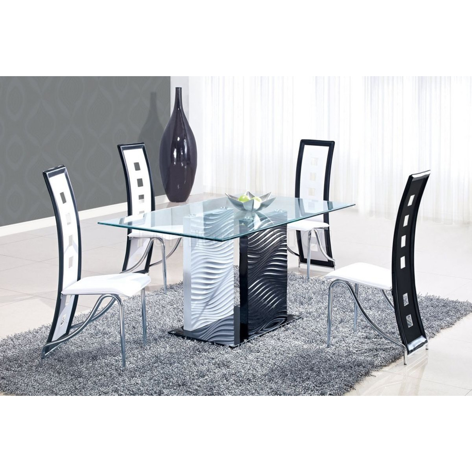 Dining Table - Clear and Black Glass, Black and White Legs - GLO-D1021DT