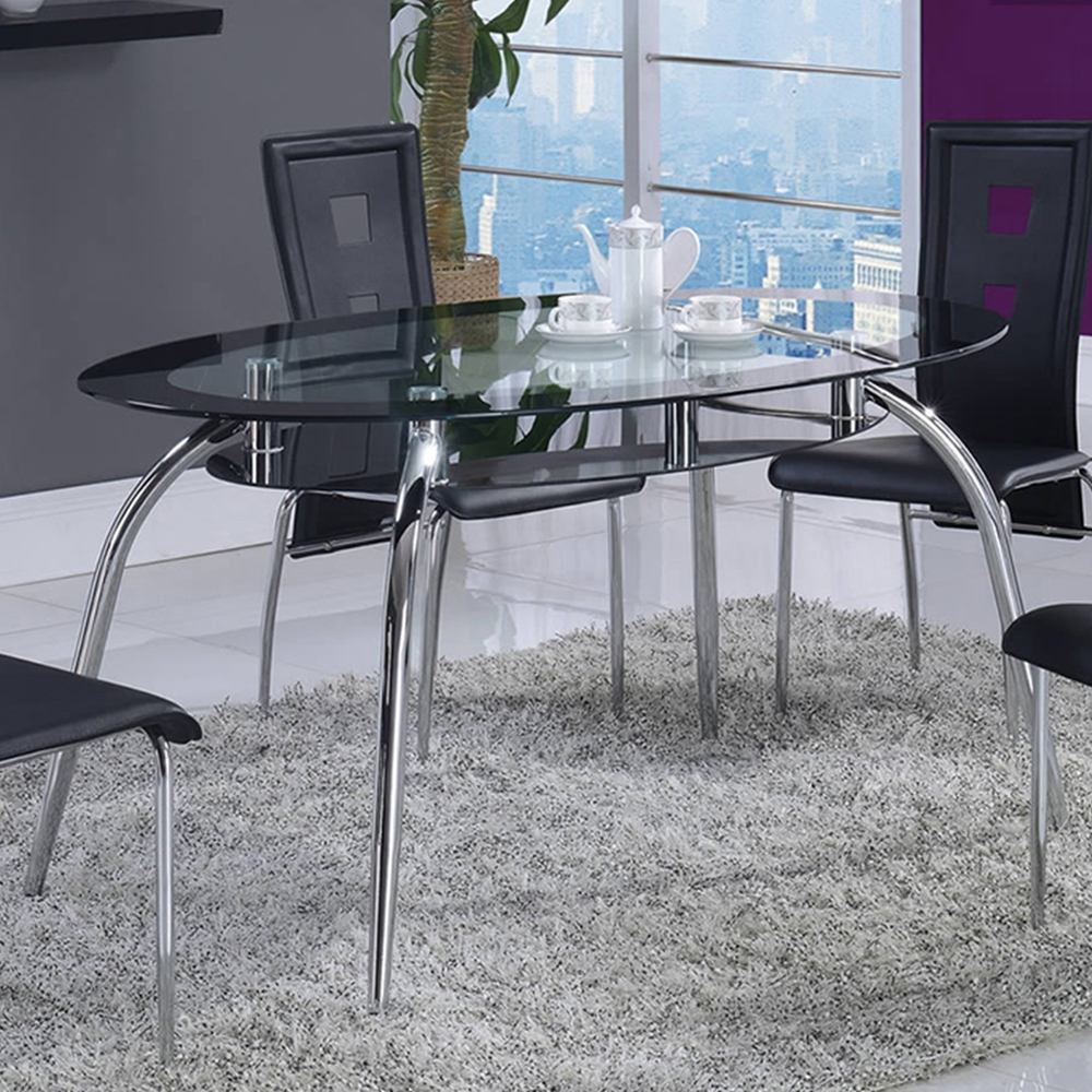 edgar dining table glass top with black trim chrome