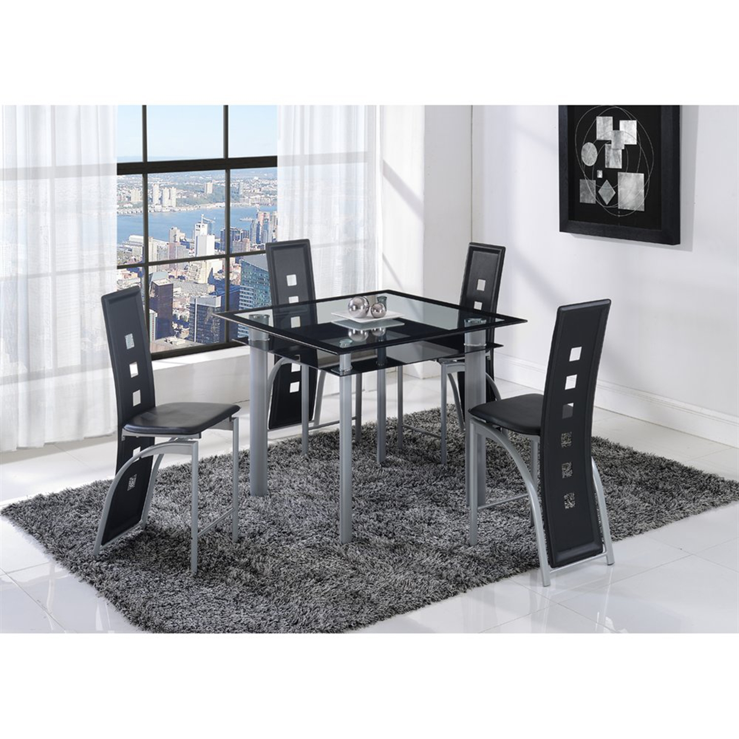 Sophia 5 Piece Counter Height Dining Set In Black   GLO D1058B M ...