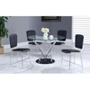 Ariana Dining Table - Clear/Chrome/Black - GLO-D1071DT-M