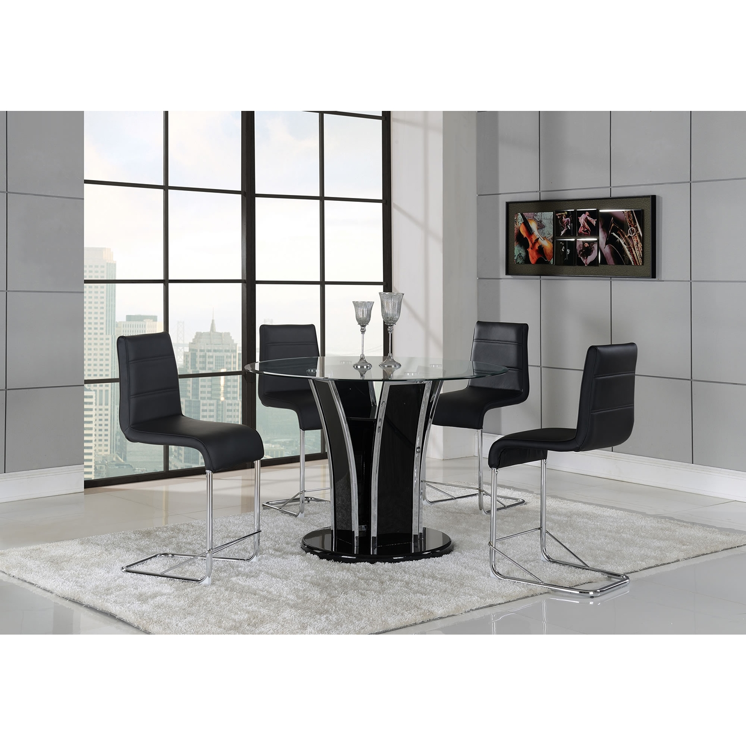 Sophie 5 Piece Counter Height Dining Set   Black   GLO D1086BT D1086BS ...