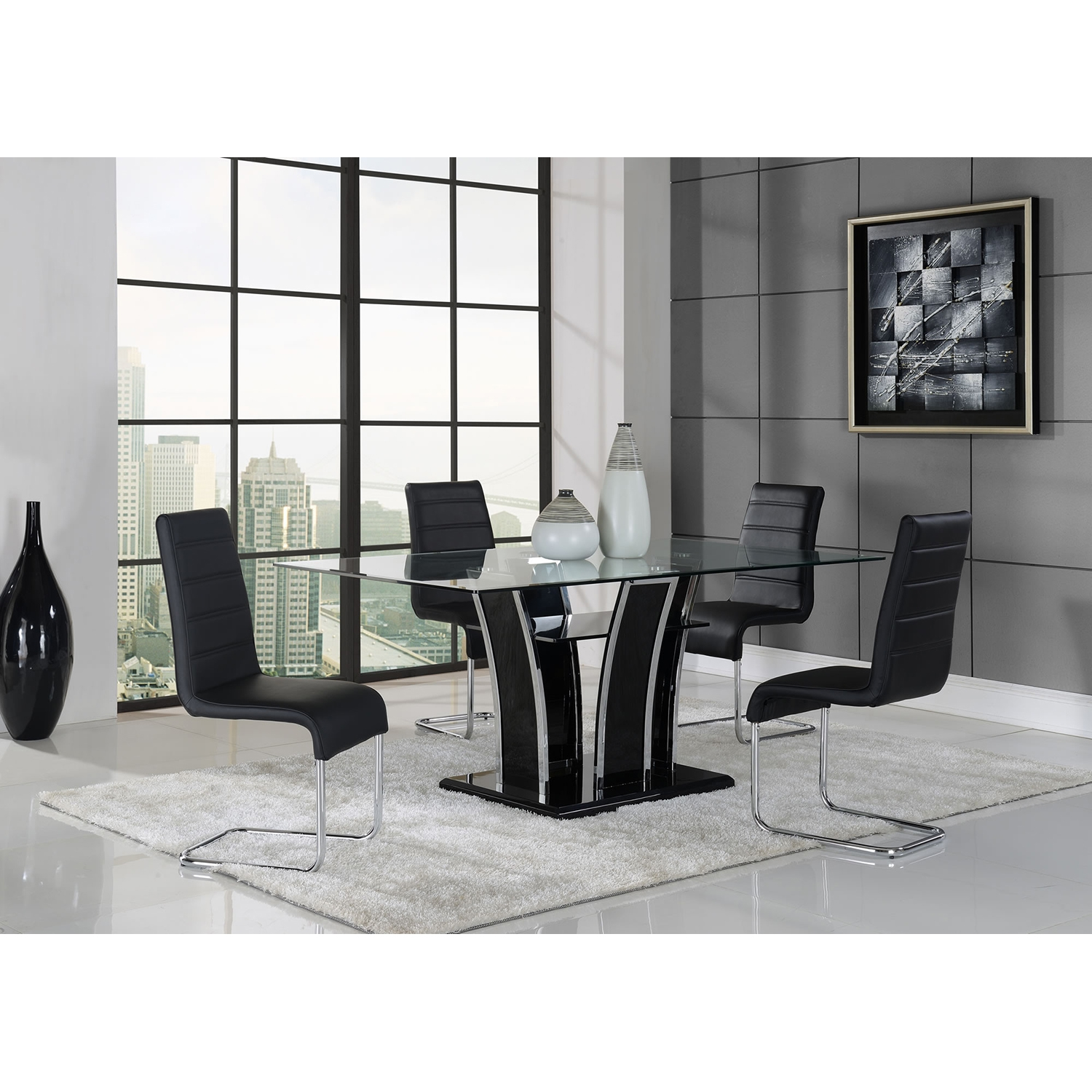 Caitlin 5 Piece Dining Set   Black   GLO D1087DT D1087DC M ...