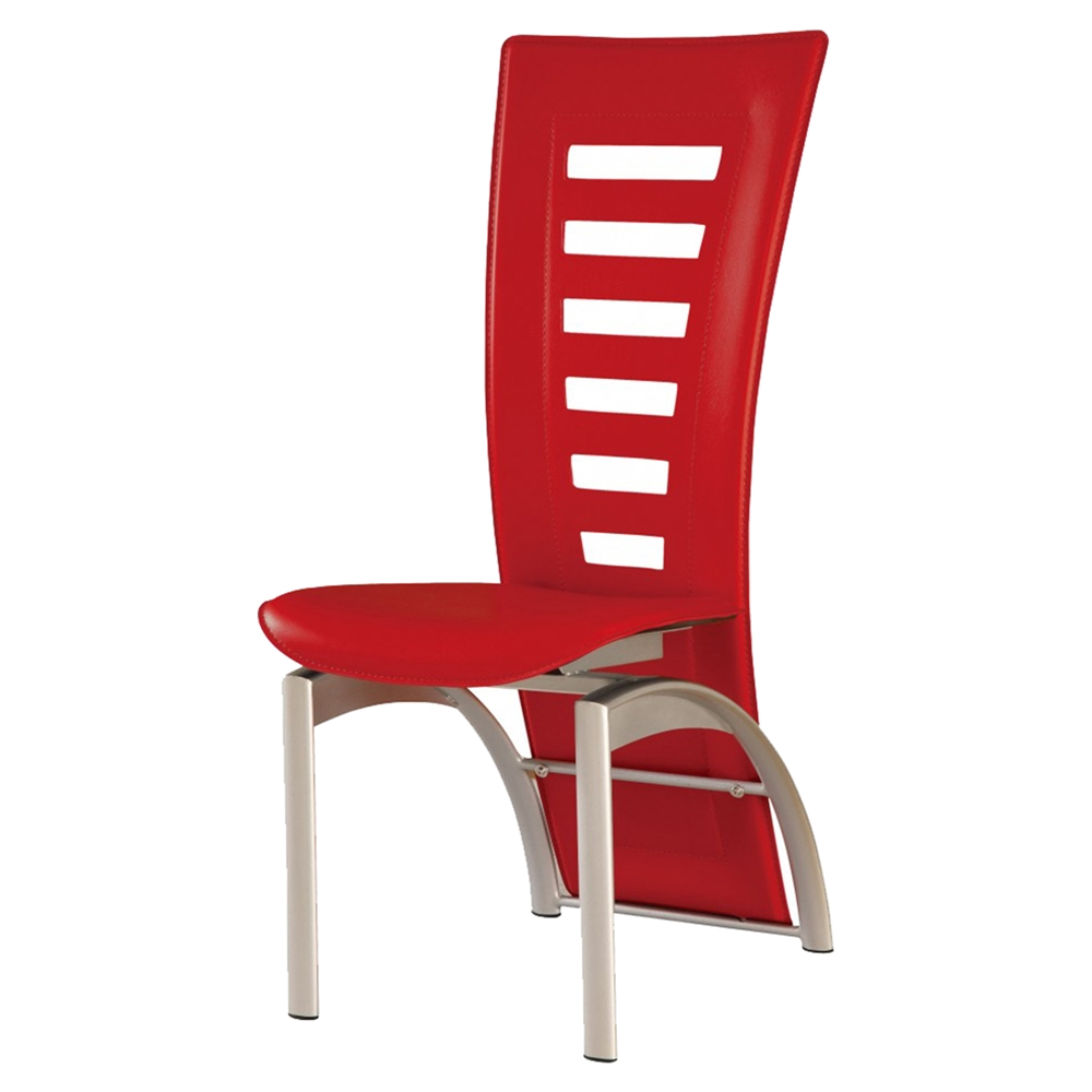 Sabrina dining chair red upholstery silver legs dcg for Red upholstered dining chair